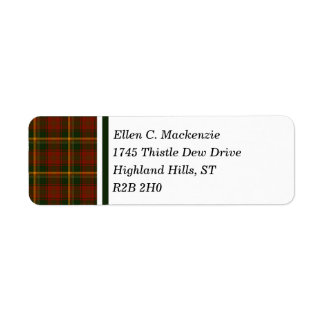 Canadian National Maple Leaf Tartan Return Address Label