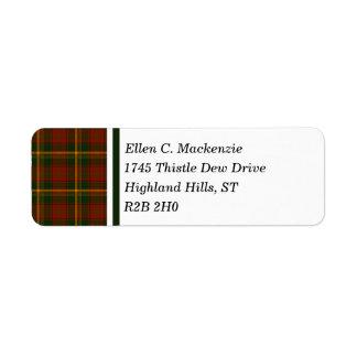 Canadian National Maple Leaf Tartan Return Address Label