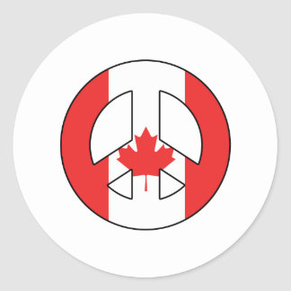 Canadian Peace Sign Classic Round Sticker