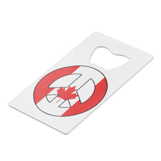Canadian Peace Sign Credit Card Bottle Opener