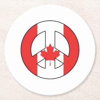 Canadian Peace Sign Round Paper Coaster