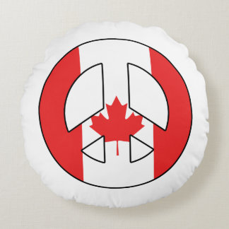 Canadian Peace Sign Round Pillow