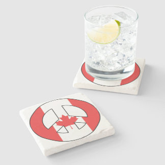 Canadian Peace Sign Stone Beverage Coaster