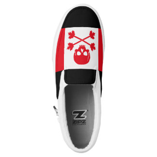Canadian Pirate Scull and Crossbones Maple Leaf Slip-On Sneakers