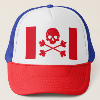 Canadian Pirate Scull Crossbones Maple Leaf Hat