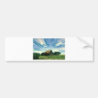 Canadian prairies homestead colour bumper sticker