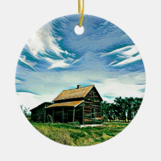 Canadian prairies homestead colour ceramic ornament