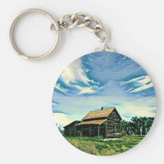 Canadian prairies homestead colour keychain