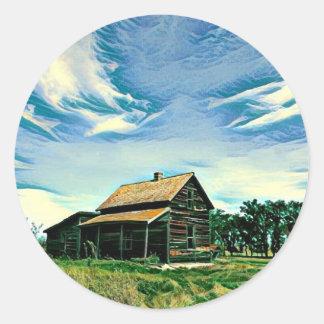 Canadian prairies homestead colour round sticker