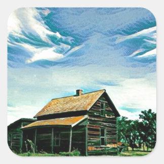 Canadian prairies homestead colour square sticker
