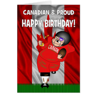 Canadian & Proud American Football Birthday Card