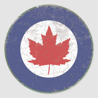 Canadian RAF Maple Leaf Roundel Rustic Classic Round Sticker