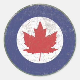 Canadian RAF Maple Leaf Roundel Rustic Round Sticker
