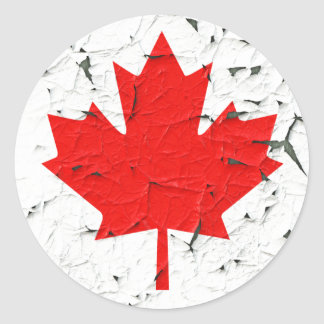 Canadian Red Maple Leaf CANADA Peeling Paint looks Classic Round Sticker
