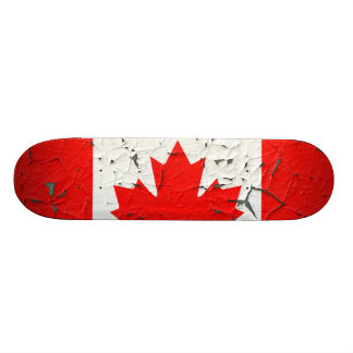 Canadian Red Maple Leaf CANADA Peeling Paint style Skate Board Deck