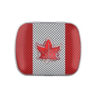 Canadian Red Maple Leaf Carbon Fiber retro style