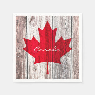 Canadian red maple leaf flag disposable napkins