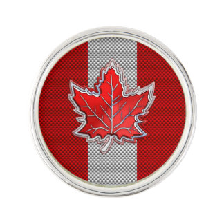 Canadian Red Maple Leaf on Carbon Fiber style Lapel Pin