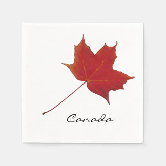 canadian red maple leaf paper napkin