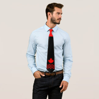 Canadian Red Maple on Black with Chevron Tie