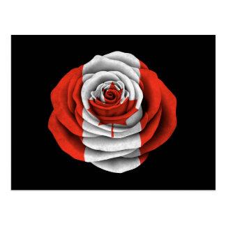 Canadian Rose Flag on Black Postcard