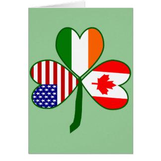 Canadian Shamrock Green Background Card