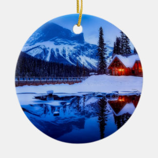 Canadian Sunset, landscape photo at dusk, Ceramic Ornament