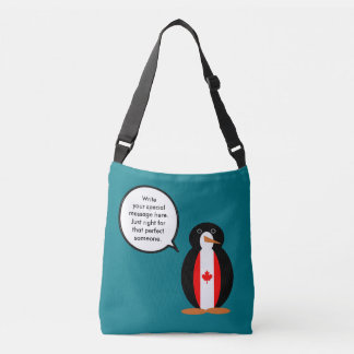 Canadian Talking Penguin Flag Crossbody Bag