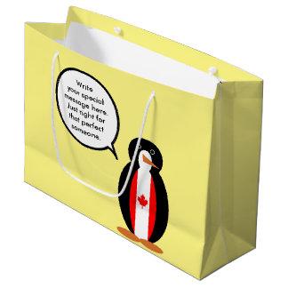 Canadian Talking Penguin Flag Large Gift Bag