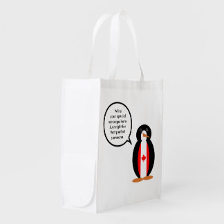 Canadian Talking Penguin Flag Market Totes