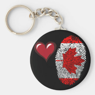 Canadian touch fingerprint flag basic round button keychain