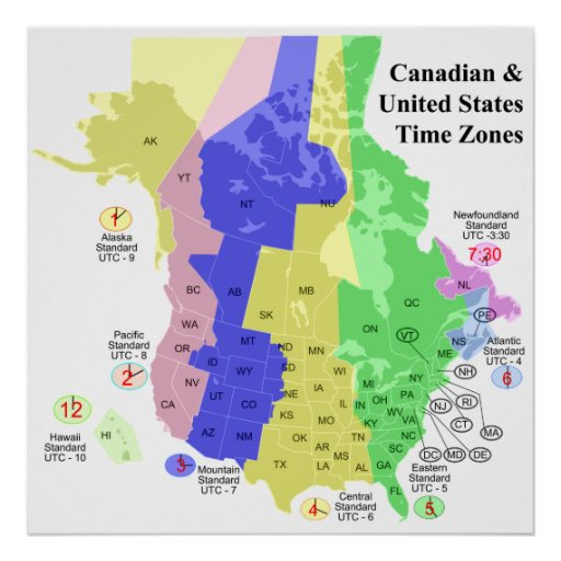 Canadian Amp United States Political Time Zone Map Poster
