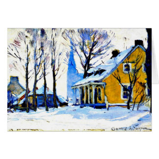 Canadian Village, Grey Day, Clarence Gagnon art Card