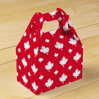 Canadian White Maple Leaf Red Colour Pattern Party Favor Box