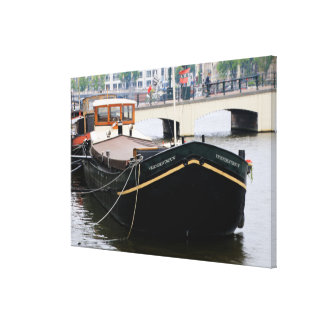 Canal barge, Amsterdam, Holland Canvas Print