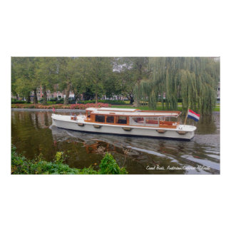 Canal Boat, Amsterdam, Netherlands Poster