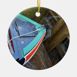 Canal Boat In Lock Round Ceramic Ornament