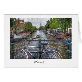 Canal Bridge View and Bike - Friends Card