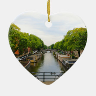 Canal, bridges, bikes, boats, Amsterdam, Holland Ceramic Ornament