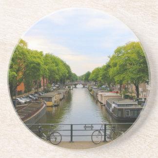 Canal, bridges, bikes, boats, Amsterdam, Holland Coaster