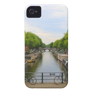 Canal, bridges, bikes, boats, Amsterdam, Holland iPhone 4 Case-Mate Case