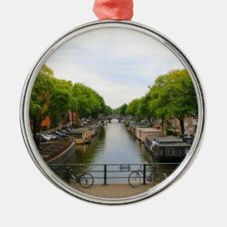Canal, bridges, bikes, boats, Amsterdam, Holland Metal Ornament