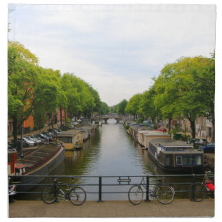 Canal, bridges, bikes, boats, Amsterdam, Holland Napkin