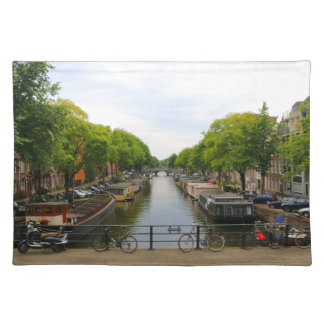Canal, bridges, bikes, boats, Amsterdam, Holland Placemat