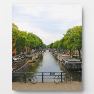 Canal, bridges, bikes, boats, Amsterdam, Holland Plaque