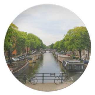 Canal, bridges, bikes, boats, Amsterdam, Holland Plate