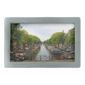 Canal, bridges, bikes, boats, Amsterdam, Holland Rectangular Belt Buckles