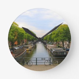 Canal, bridges, bikes, boats, Amsterdam, Holland Round Clock