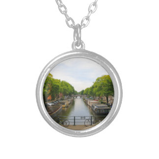Canal, bridges, bikes, boats, Amsterdam, Holland Silver Plated Necklace