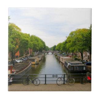 Canal, bridges, bikes, boats, Amsterdam, Holland Tile